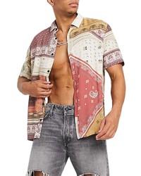 Topman Patchwork Bandana Short Sleeve Button Up Shirt
