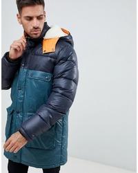 ASOS DESIGN Longline Parka Jacket With Faux In Colour Block