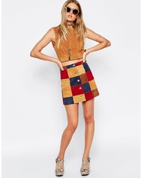 Asos Collection A Line Skirt In Patchwork Suede With Button Through