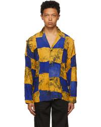 Bloke Yellow Blue Chiffon Patchwork Shirt