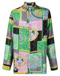 Versace Collection Patchwork Print Silk Shirt