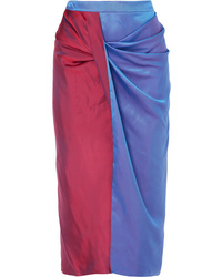 Sies Marjan Libbie Draped Two Tone Iridescent Dgrad Satin Twill Midi Skirt