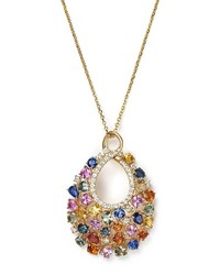 Bloomingdale's Diamond And Multi Sapphire Pendant Necklace In 14k Yellow Gold 16