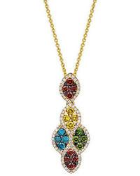 LeVian Le Vian Exotics Multi Colored Diamond Pendant Necklace