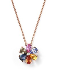 Bloomingdale's Multi Sapphire And Diamond Pendant Necklace In 14k Rose Gold 16