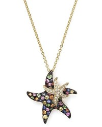 Bloomingdale's Multi Sapphire And Diamond Starfish Pendant Necklace In 14k Yellow Gold 17
