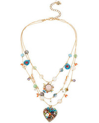 Betsey Johnson Weave And Sew Woven Mixed Multi Colored Bead And Flower Heart Illusion Necklace