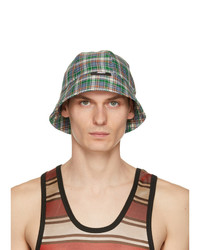 MSGM Green And Blue Check Print Cloche Bucket Hat