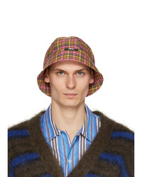 MSGM Yellow And Pink Check Print Cloche Bucket Hat