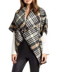 LaMarque Penelope Plaid Cascade Wool Blend Cape Coat