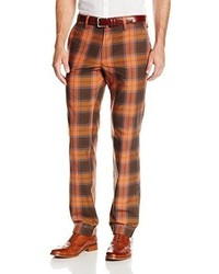 Haggar Vintage Slim Fit Flat Front Blue Plaid Pant