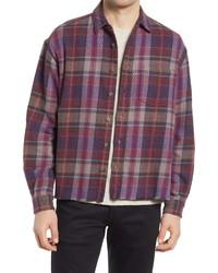 John Elliott Hemi Oversize Plaid Flannel Raw Hem Button Up Shirt