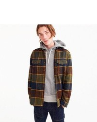 J.Crew Wallace Barnes Heavyweight Flannel Shirt In Brown Plaid