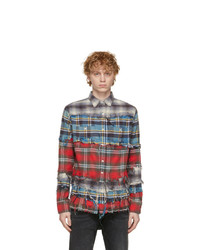 R13 Blue Plaid Pieced Shirt