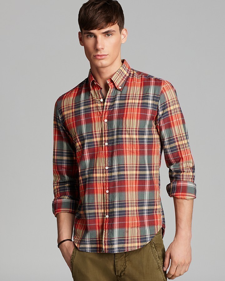 Multi Colored Plaid Long Sleeve Shirt Gant Rugger Madras