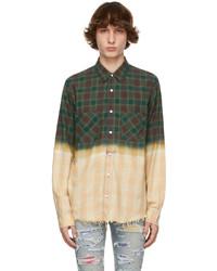 Amiri Green Plaid Bleached Shadow Shirt