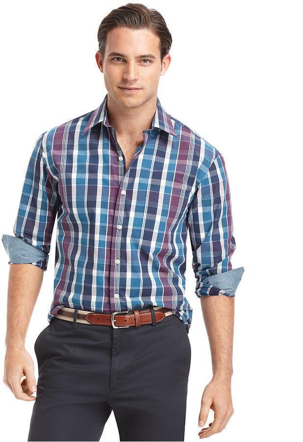 Izod Shirt Long Sleeve Bold Multi Plaid Shirt Where To
