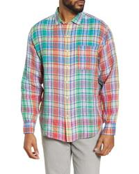Tommy Bahama Mahal Madras Plaid Linen Button Up Shirt
