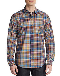 Vince Multi Plaid Cotton Sportshirt