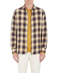 Officine Generale Plaid Cotton Flannel Button Front Shirt