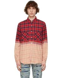Amiri Red Plaid Bleached Shadow Shirt