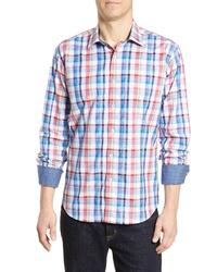 Bugatchi Regular Fit Long Sleeve Plaid Cotton Sport Shirt