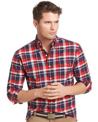 Izod Shirt Ski Club Long Sleeve Real Red Homestead Plaid Peach Twill Shirt