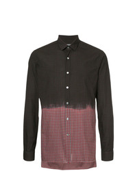 Lanvin Spray Paint Effect Tartan Check Shirt