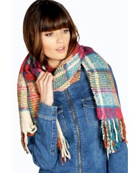Boohoo Evie Boucle Check Scarf