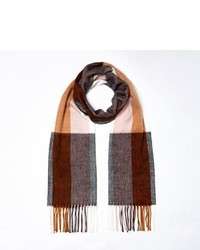 River Island Brown Stripe Plaid Scarf