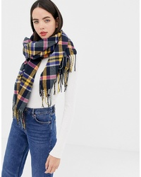 Esprit Check Scarf In Navy
