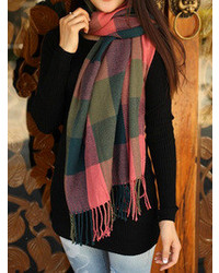 Choies Green And Pink Plaid Tassel Scarf