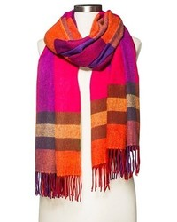 Merona Cozy Plaid Blanket Wrap Scarf Pink And Orange Tm