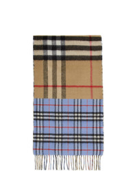 Burberry Green And Blue Vintage Check To Giant Check Scarf