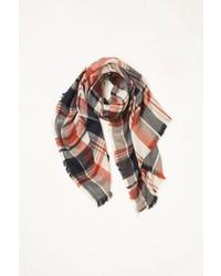 Look By M Multi Plaid Wool Scarf