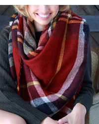 Red Navy Plaid Oversize Scarf