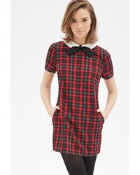 Contrast collar plaid shift dress medium 338518