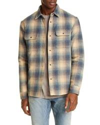 John Elliott Jupiter Plaid Snap Up Wool Blend Shirt