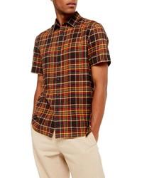 Multi colored Plaid Short Sleeve Shirt