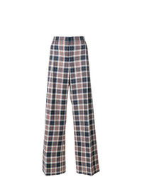 Multi colored Plaid Wide Leg Pants