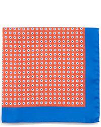 Kiton Circle Neat Silk Pocket Square Orange