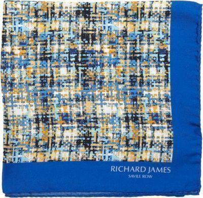 Richard James Tweed Print Pocket Square