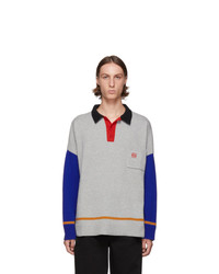 Loewe Grey And Blue Cashmere Long Sleeve Polo