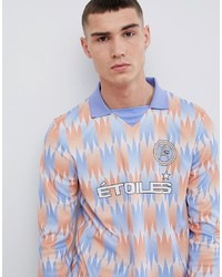 ASOS DESIGN Long Sleeve Polo With Etoiles Print And Insert V Neck