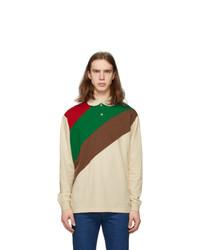 Gucci Off White And Multicolor Oversize Striped Polo