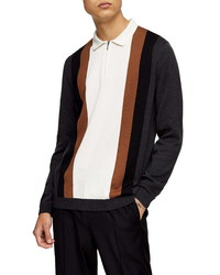 Topman Stripe Zip Polo Sweater