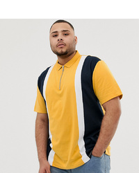 ASOS DESIGN Plus Organic Polo Shirt With S And Zip Neck In Yellow