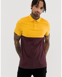 ASOS DESIGN Polo Shirt With Contrast Yoke In Burgundy