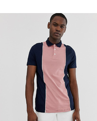 ASOS DESIGN Tall Organic Polo Shirt With Vertical Colour Blocking In Navy