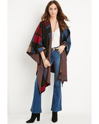 Forever 21 Square Patterned Open Front Poncho